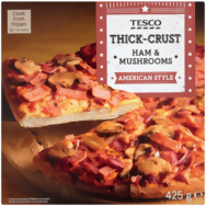 Tesco American Style Thick-Crust Ham & Mushrooms pizza