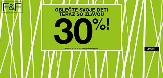 –30 % na detské oblečenie a obuv